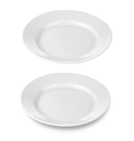 plate setting: round plate or dishe isolated on white with clipping path included