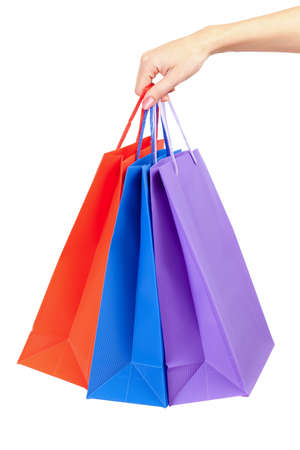 closeup on bags: colorful shopping bags set in woman