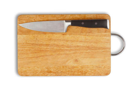 hardboard: wooden hardboard with kitchen knife isolated. clipping path included.