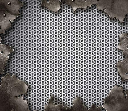 쇠 격자: 리벳 지 균열 금속 배경 스톡 사진