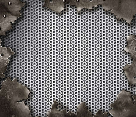 metal mesh: grunge crack metal background with rivets Stock Photo