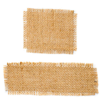 burlap texture: Burlap hessian square with frayed edges isolated on white background Stock Photo