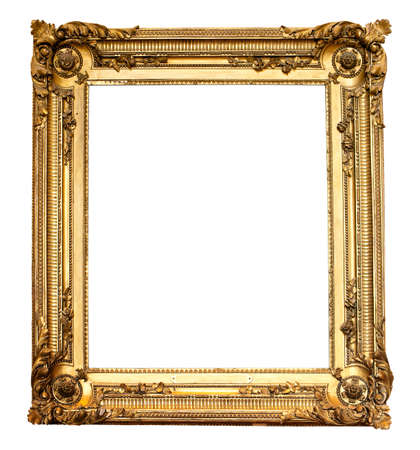 gilding: Real old antique gold frame isolated on white Stock Photo