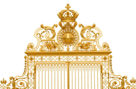 Isolated golden gate fragment of Versailles king Stock Photo - 10899149