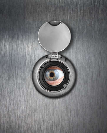 Peep hole closeup photo