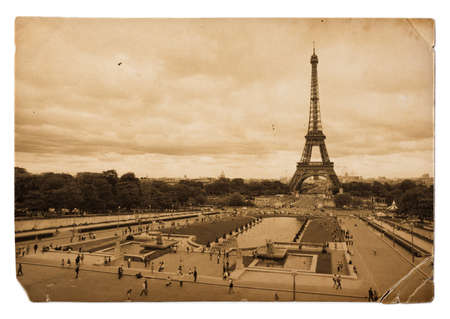 vintage sepia toned postcard of Eiffel tower in Paris photo