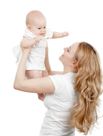 Happy young mother and baby in her hands Stock Photo - 10980145