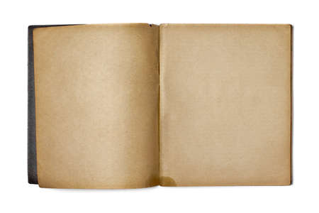 log book: old opened copybook isolated on white Stock Photo