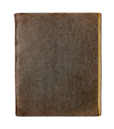 log book: old closed copybook isolated on white