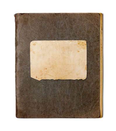 old closed copybook isolated on white photo
