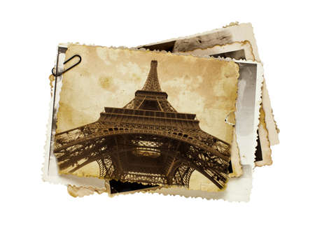 national monuments: vintage sepia toned postcard of Eiffel tower in Paris Stock Photo