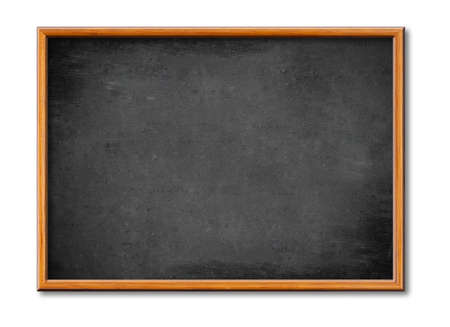 blank black board with wooden frame photo