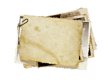 pile papier: anciens tas de photos isol�es comme fond pour votre photo Banque d'images