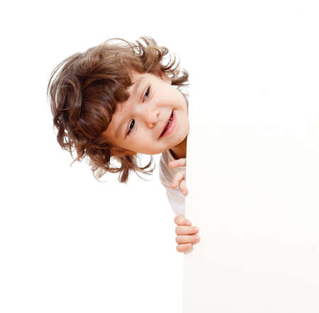 curly headed: Curly funny child face holding blank advertising banner