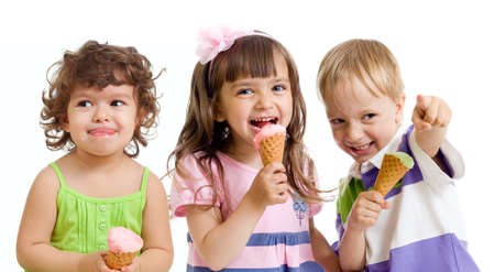 woman face cream: happy children with ice cream in studio isolated