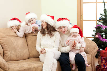 happy family in Christmas Santa Stock Photo - 11333711