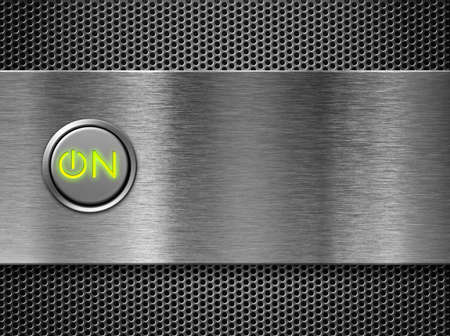 metal grate: power on button
