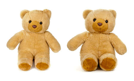 old teddy bear isolated on white photo