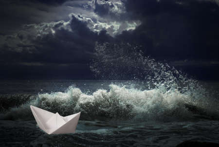 paper ship in storm concept Stock Photo - 11333724
