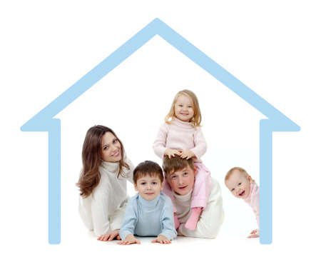 home safety: Happy family  in their own home concept