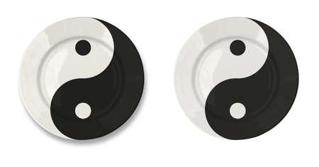 yin y yan: Ronda yin yan placa aislado en blanco con trazado de recorte incluidos