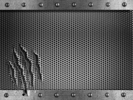쇠 격자: 금속 손상 쇠 배경