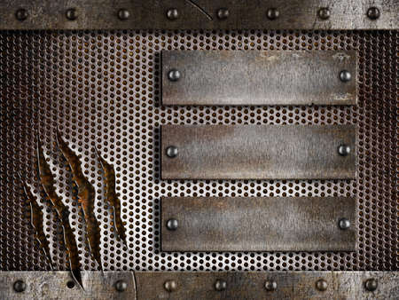 three rusty plates over metal holed or perforated grid background Stock Photo - 11561304
