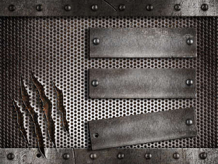 holed: three rusty plates over metal holed or perforated grid background