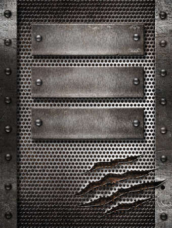 metal grate: metal damaged grate background with three plates and rivets
