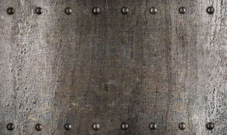 steel sheet: Metal plate or armour texture with rivets Stock Photo