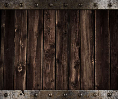 metal and wooden background Stock Photo