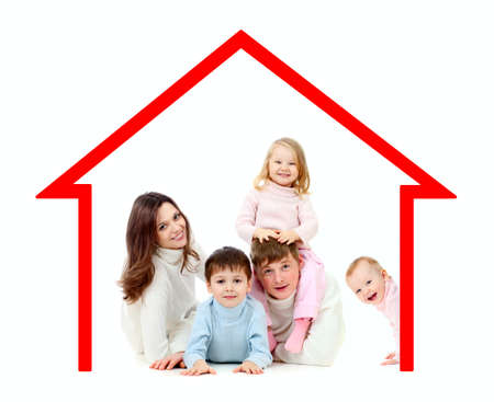 home insurance: Happy family  in their own home concept