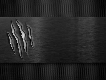 black damaged metal plate over grid Stock Photo - 11561289