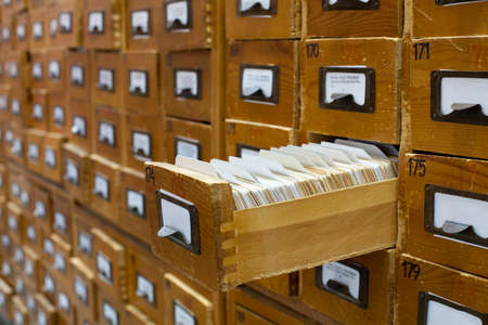megabytes: Old wooden card catalogue with one opened drawer
