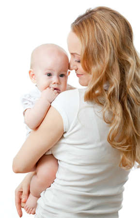 Happy young mother and baby in her hands Stock Photo - 11878650