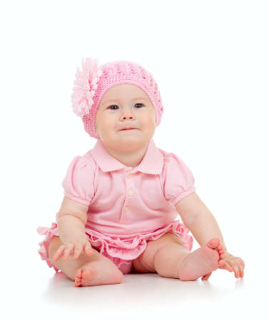 baby in suit: Little cute baby-girl  in pink dress isolated