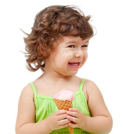 little girl with ice cream in studio isolated photo