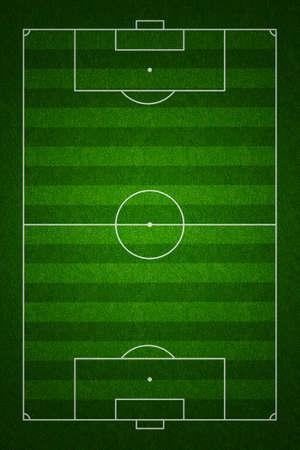 campeonato de futbol: Campo de f�tbol o el f�tbol o el punto de vista de tono alto, con marcas propias y las proporciones seg�n las normas Foto de archivo