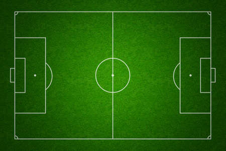 Soccer or football field or pitch top view with proper markings and proportions according standards photo