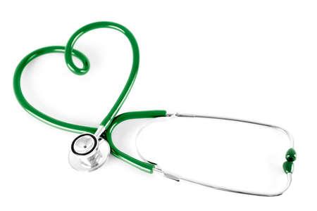 nursing treatment: estetoscopio en forma de coraz�n, aislado en blanco