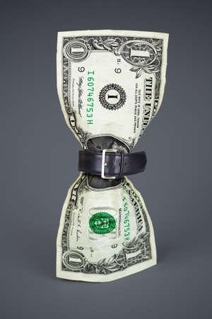 tighten belt on dollar concept Stock Photo - 12072500