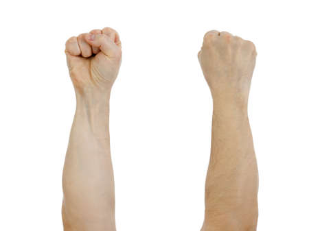arm of a man: clinched fist raised up  isolated on white Stock Photo