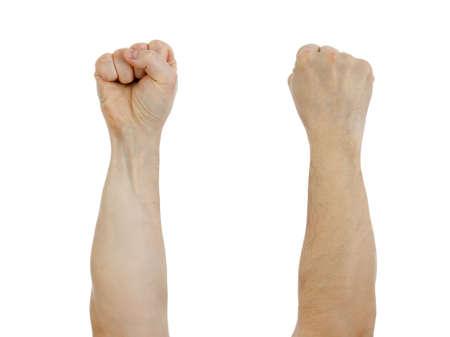 arm: clinciata pugno sollevato isolato su bianco Archivio Fotografico