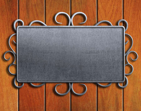 Vintage metal plate  on old oak door photo