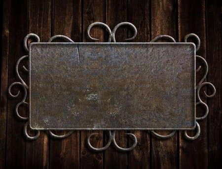 metal plaque: Vintage metal plate  on old oak door