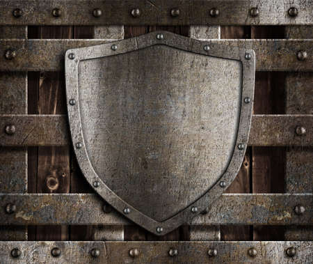 aged metal shield on wooden medieval gates Stock Photo - 12201983