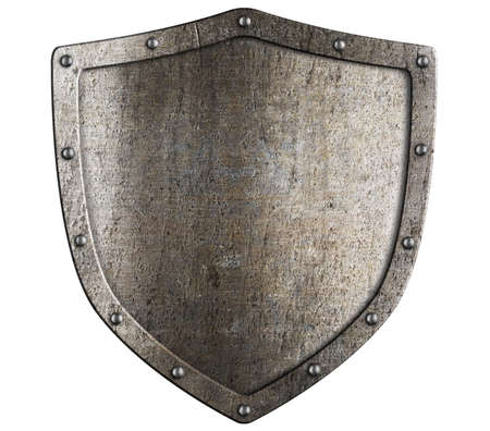aged metal shield isolated on white photo
