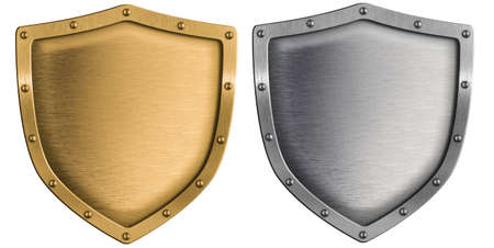 3d shield: metal shields set silver and gold isolated on white