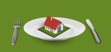 grass plot: small house concept  on white plate located on green table