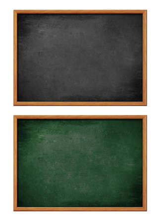 board: blank black and green board set with wooden frame Stock Photo